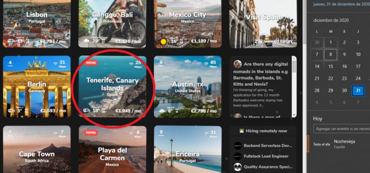 Tenerife termina 2020 siendo el único destino español en el 'top 10' para nómadas digitales